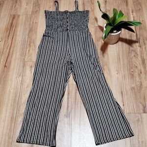 Black White Stripped Jumpsuit Large